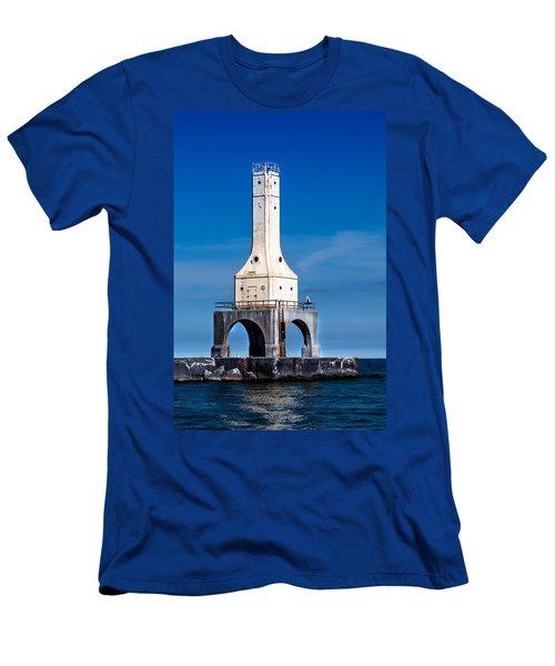 Lighthouse Blues Vertical Men's T-Shirt (Athletic Fit)
