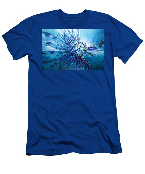 Lionfish Abstract Blue Men's T-Shirt (Athletic Fit)