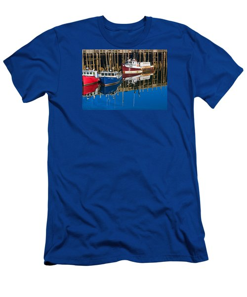 Boats And Reflections At Low Tide On Digby Bay Nova Scotia Men's T-Shirt (Athletic Fit)
