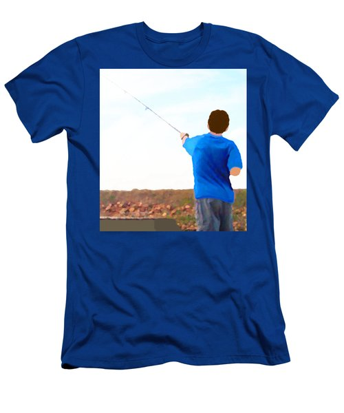 Men's T-Shirt (Athletic Fit) featuring the painting Man Fishing by Marian Cates