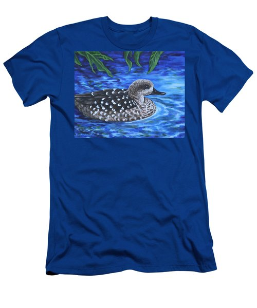Men's T-Shirt (Slim Fit) featuring the painting Marbled Teal Duck On The Water by Penny Birch-Williams