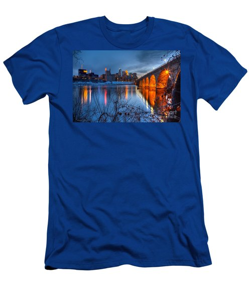 Minneapolis Skyline Images Stone Arch Bridge Spring Evening Men's T-Shirt (Athletic Fit)