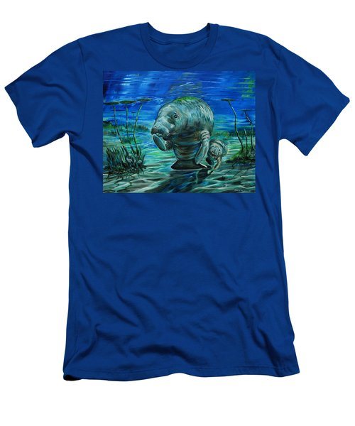 Momma Manatee Men's T-Shirt (Slim Fit) by Steve Ozment