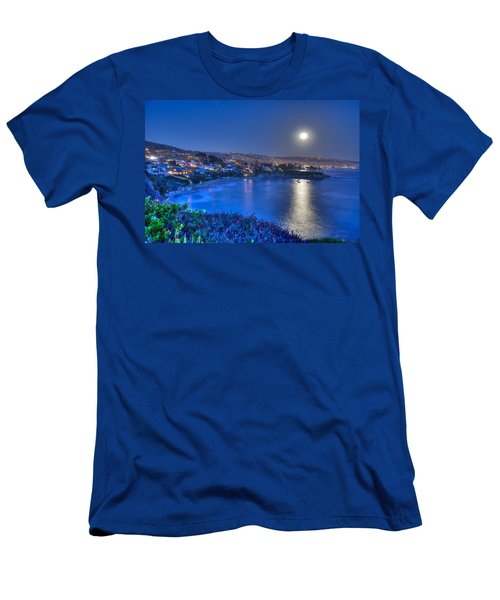 Moon Over Crescent Bay Beach Men's T-Shirt (Athletic Fit)