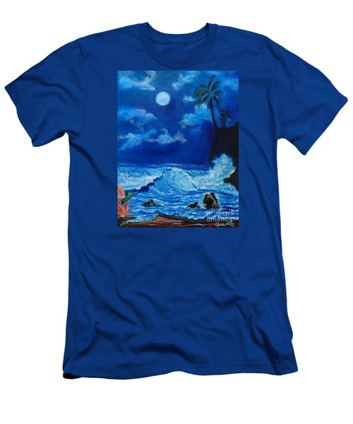 Moonlit Hawaiian Night Men's T-Shirt (Slim Fit) by Jenny Lee