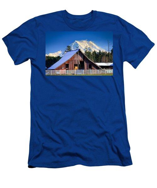 Mount Rainier And Barn Men's T-Shirt (Athletic Fit)