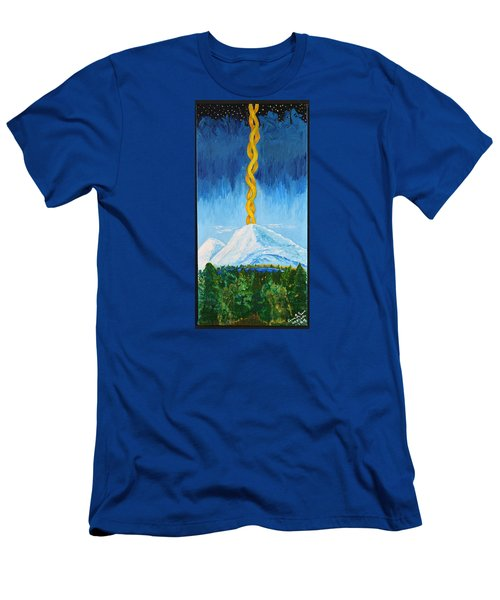 Men's T-Shirt (Slim Fit) featuring the painting Mt. Shasta by Cassie Sears
