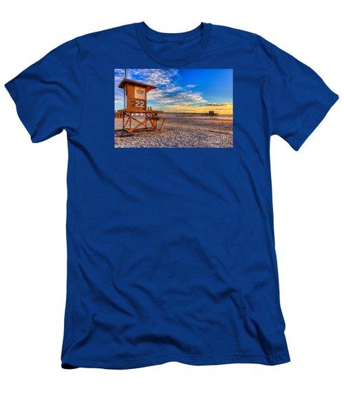 Newport Beach Pier - Wintertime  Men's T-Shirt (Slim Fit) by Jim Carrell