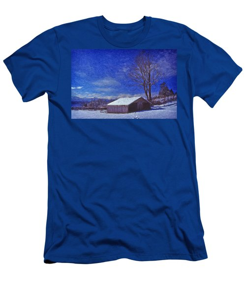 Old Barn In Winter Men's T-Shirt (Athletic Fit)