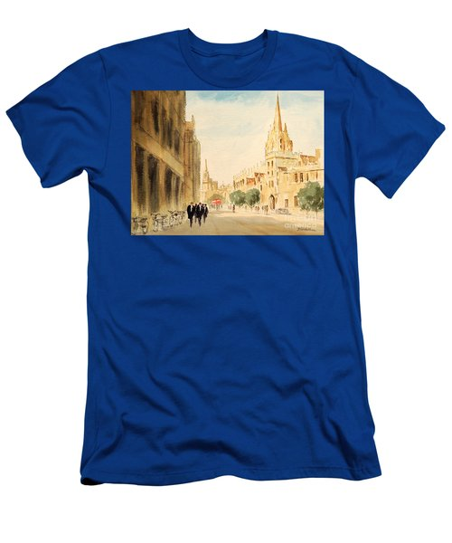 Men's T-Shirt (Athletic Fit) featuring the painting Oxford High Street by Bill Holkham