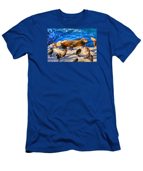 Men's T-Shirt (Slim Fit) featuring the photograph Pacific Harbor Seal by Jim Carrell