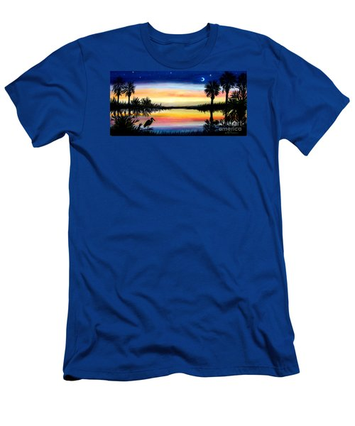 Palmetto Tree Moon And Stars Low Country Sunset IIi Men's T-Shirt (Slim Fit) by Patricia L Davidson