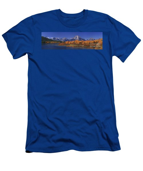 Panorama Fall Morning Oxbow Bend Grand Tetons National Park Wyoming Men's T-Shirt (Athletic Fit)