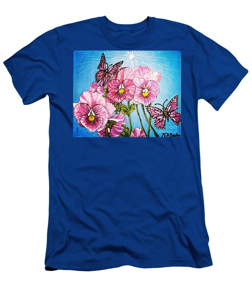Men's T-Shirt (Slim Fit) featuring the painting Pansy Pinwheels And The Magical Butterflies With Blue Skies by Kimberlee Baxter