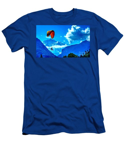 Men's T-Shirt (Slim Fit) featuring the photograph Parasailing Swiss Alps by Joe  Ng