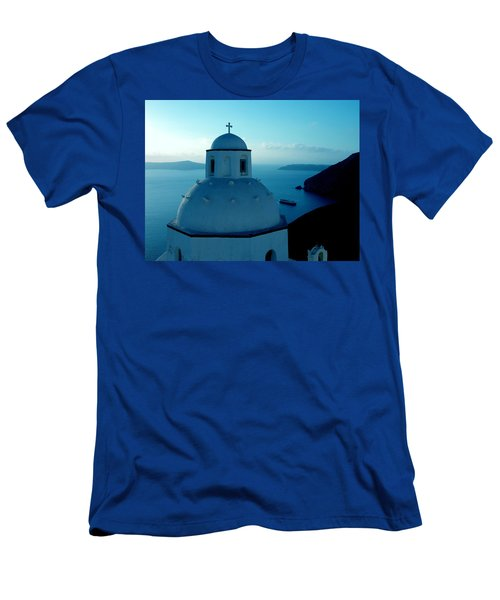 Peacefull Santorini Greek Island  Men's T-Shirt (Athletic Fit)