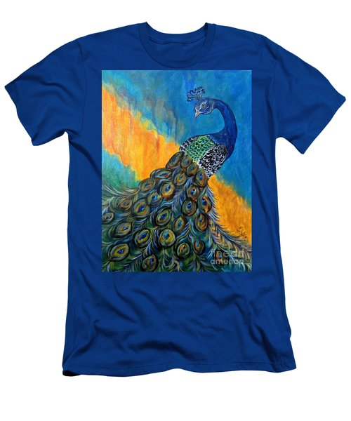 Men's T-Shirt (Slim Fit) featuring the painting Peacock Waltz #3 by Ella Kaye Dickey