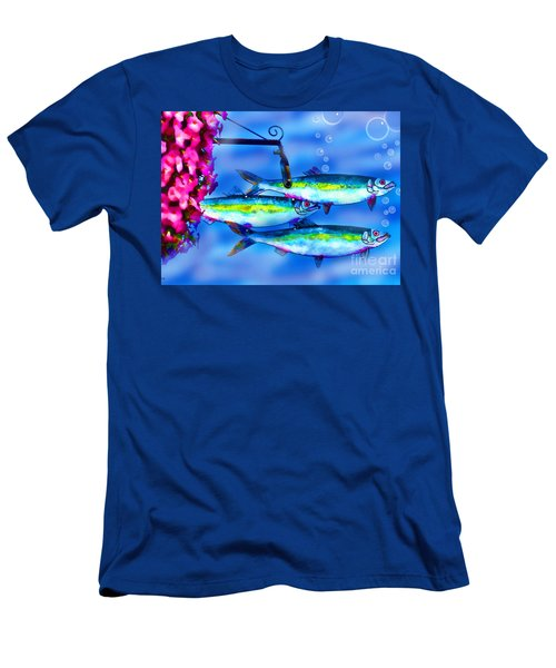 Petunia's And Sky Fish Bubbles Men's T-Shirt (Slim Fit) by Patricia L Davidson
