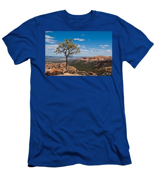 Ponderosa Pine Tree Clinging To Life On Canyon Rim Men's T-Shirt (Slim Fit) by Jeff Goulden