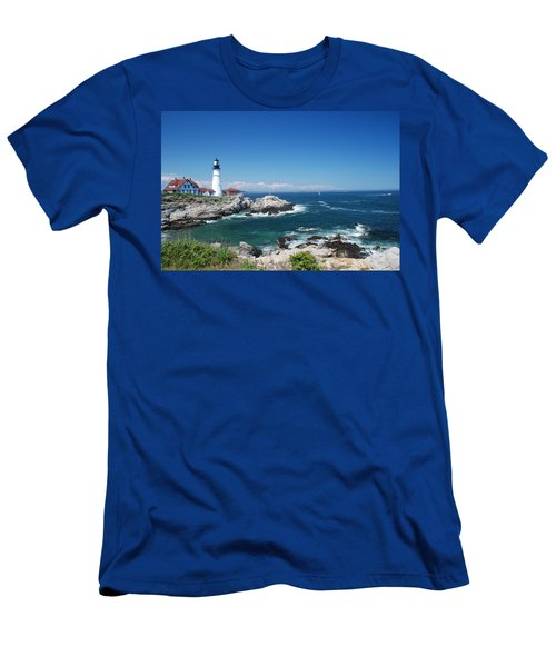 Portland Head Lighthouse Men's T-Shirt (Slim Fit) by Allen Beatty