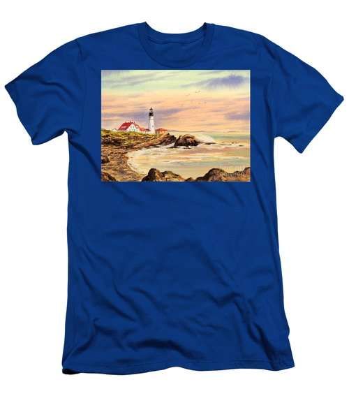 Men's T-Shirt (Athletic Fit) featuring the painting Portland Head Lighthouse Maine by Bill Holkham