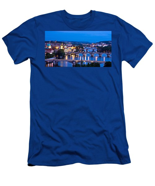Prague Cityscape At Night Men's T-Shirt (Athletic Fit)