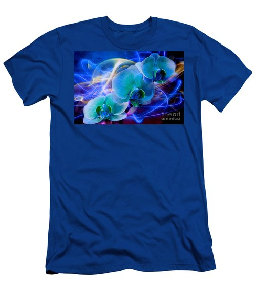 Men's T-Shirt (Slim Fit) featuring the photograph Prismatic Orchid Swirl by Judy Palkimas