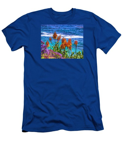 Men's T-Shirt (Slim Fit) featuring the photograph Red Aloe By The Pacific by Jim Carrell
