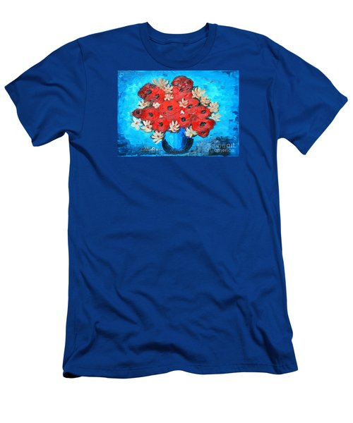 Men's T-Shirt (Slim Fit) featuring the painting Red Poppies And White Daisies by Ramona Matei