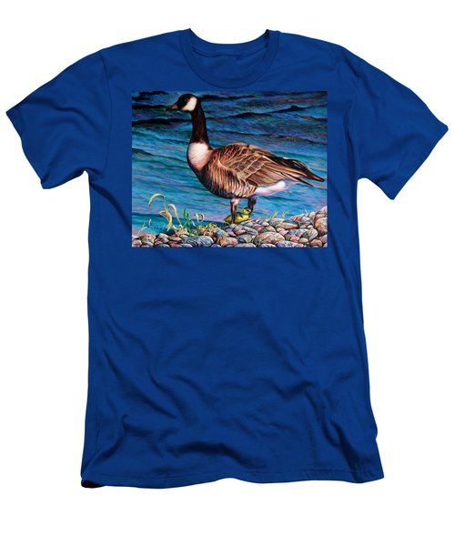 Men's T-Shirt (Slim Fit) featuring the painting Running For Cover by Craig T Burgwardt