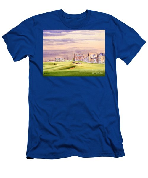 Men's T-Shirt (Athletic Fit) featuring the painting Saint Andrews Golf Course Scotland - 17th Green by Bill Holkham