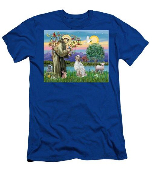 Saint Francis Blesses An English Setter Men's T-Shirt (Athletic Fit)