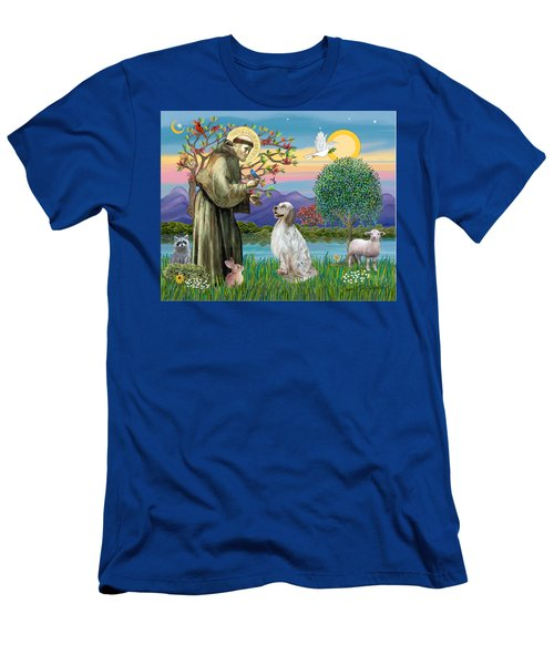 Saint Francis Blesses An English Setter Men's T-Shirt (Athletic Fit)
