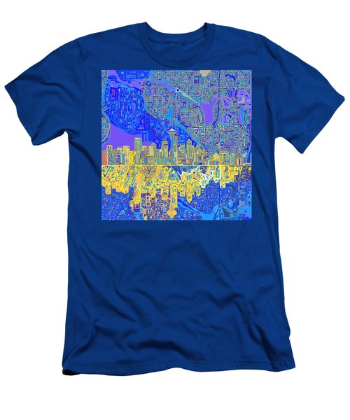 Seattle Skyline Abstract 6 Men's T-Shirt (Athletic Fit)
