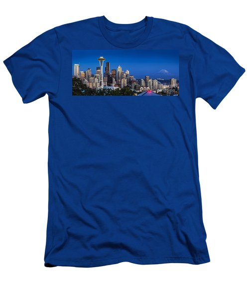 Men's T-Shirt (Athletic Fit) featuring the photograph Seattle Skyline Panoramic by Brian Jannsen