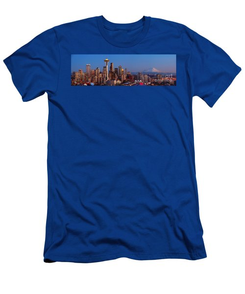 Seattle Winter Evening Panorama Men's T-Shirt (Athletic Fit)