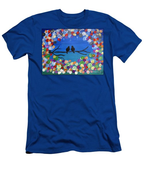 Singing To The Stars Tree Bird Art Painting Print Men's T-Shirt (Slim Fit)