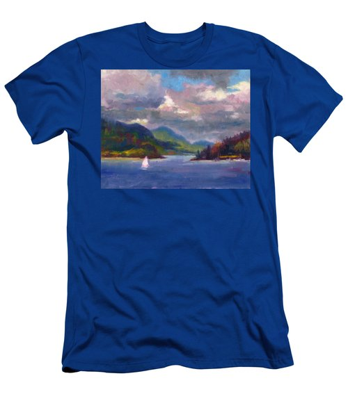 Men's T-Shirt (Athletic Fit) featuring the painting Smooth Sailing Sailboat On Alaska Inside Passage by Talya Johnson