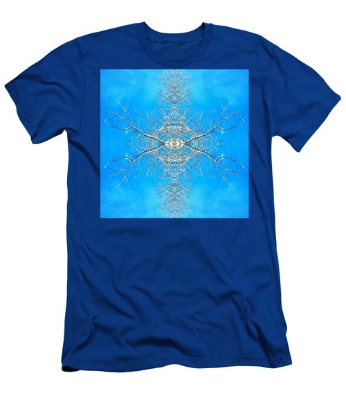 Men's T-Shirt (Slim Fit) featuring the photograph Snowy Branches In The Sky Abstract Art Photo by Marianne Dow