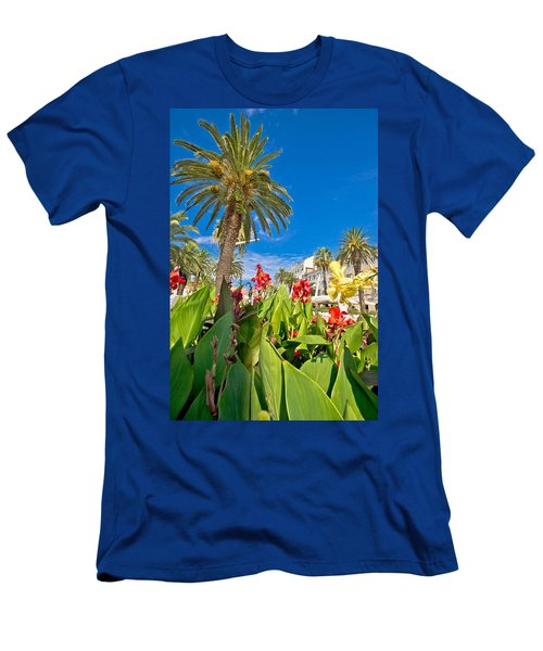 Split Riva Palms And Flowers Men's T-Shirt (Athletic Fit)