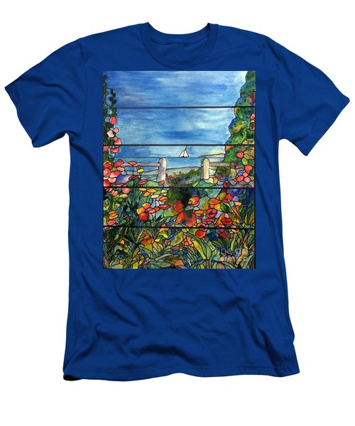 Stained Glass Tiffany Landscape Window With Sailboat Men's T-Shirt (Athletic Fit)