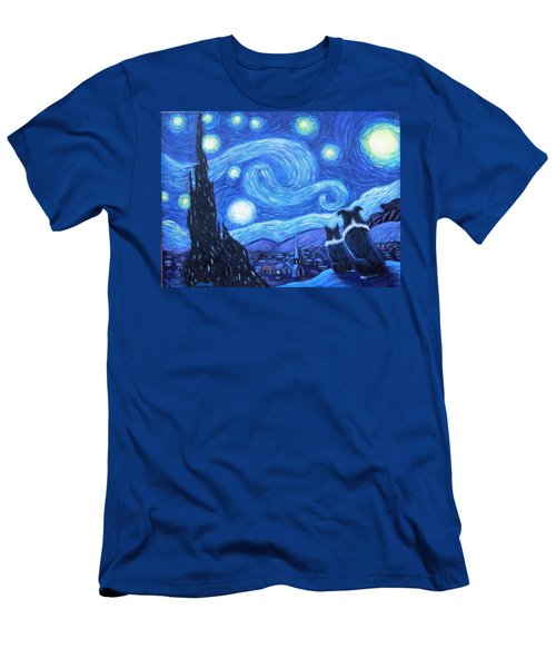 Men's T-Shirt (Slim Fit) featuring the painting Starry Night Border Collies by Fran Brooks