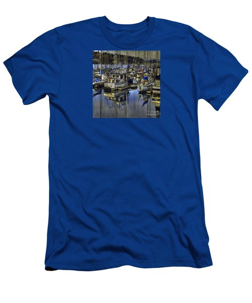 Men's T-Shirt (Slim Fit) featuring the photograph Still Water Masts by Jean OKeeffe Macro Abundance Art