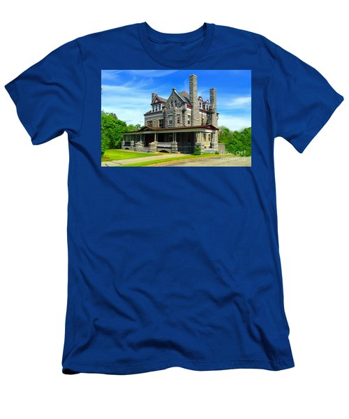 Men's T-Shirt (Slim Fit) featuring the photograph Stone Mansion Blue Sky by Becky Lupe