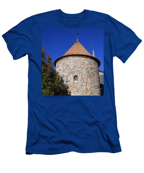 Men's T-Shirt (Slim Fit) featuring the pyrography Stone Tower by Chris Thomas