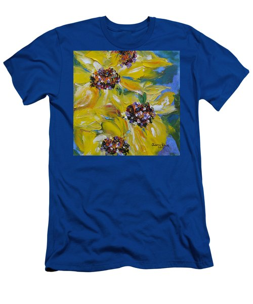 Men's T-Shirt (Athletic Fit) featuring the painting Sunflower Quartet by Judith Rhue