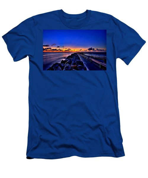 Men's T-Shirt (Slim Fit) featuring the painting Sunrise On The Pier by Bruce Nutting