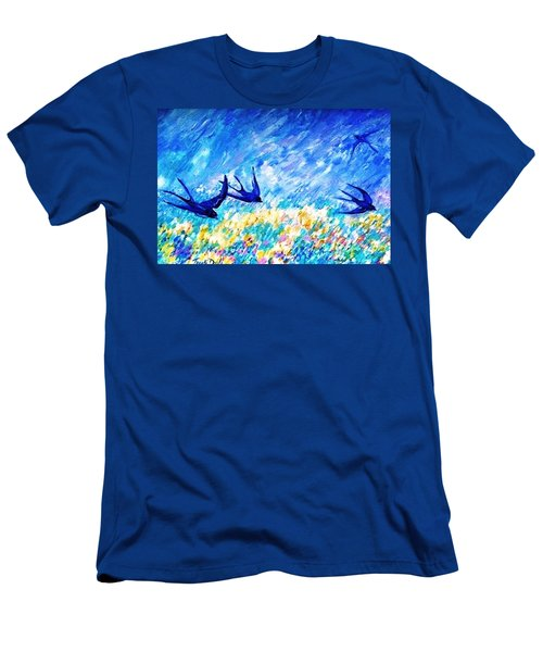 Swallows In Summer Men's T-Shirt (Slim Fit) by Trudi Doyle