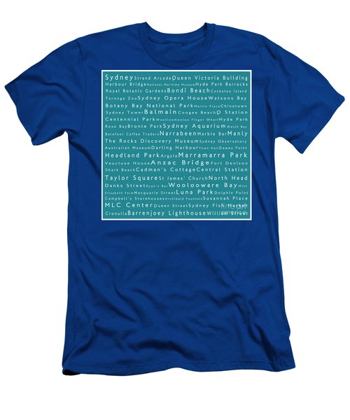 Sydney In Words Teal Men's T-Shirt (Athletic Fit)