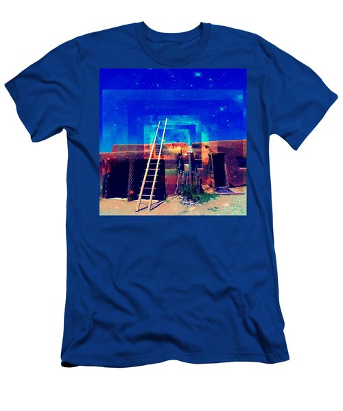Men's T-Shirt (Athletic Fit) featuring the mixed media Taos Dreams Come True by Michelle Dallocchio